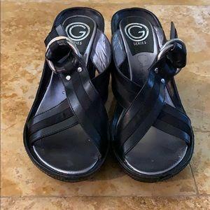 COLE HAAN Retro G Series open toe wedge  sandal